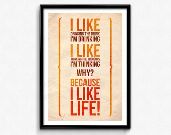 Scrooge Quote Poster/Print (1970) - I Like Life! Poster/Print - A Christmas Carol Quote, Albert Finney, Ebenezer Scrooge, CtrlAltGeek
