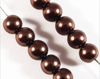 100 Pearly beads 4 mm dark brown Czech glass