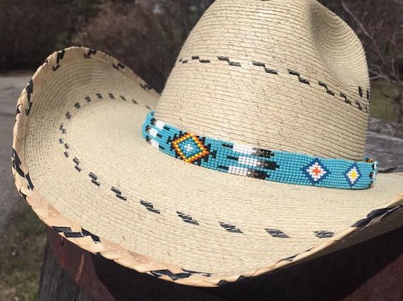 Turquoise Blue Custom Beaded Cowboy Hat Band Native Cowboy