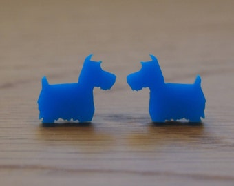 Tiny Sweet Scottie Dog Earrings. Available in mint or blue