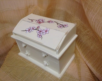 31 - Jewelry Box  - Wood- Decoupaged - Cherry Blossoms - Wedding - Chic - Heirloom White - Distressed