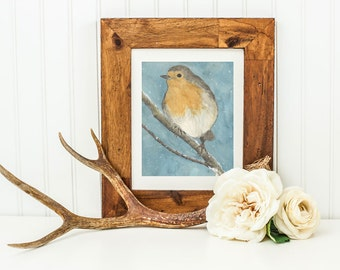 Robin Red Breast- Archival Quality Mounted and Signed Fine Art Print