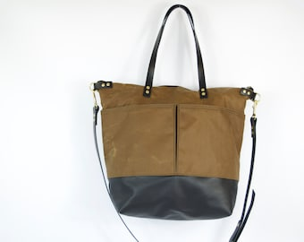 Leather Diaper Tote -  LEWIS - Waterproof Waxed CANVAS top and LEATHER base carry all Zip Tote Everyday Market Bag