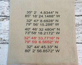 Coordinate Pillow  // Custom Latitude and Longitude Pillow // Custom Pillow