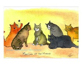 Funny Cat Card - Cat Art - Cat Cartoon Greeting Card - 'Meeting Of The Minds'