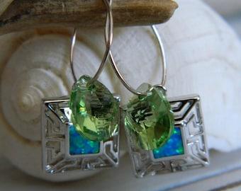 Fire Opal Boho Turquoise and Green Earrings by Seyshelles