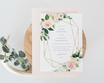 Editable Template - Instant Download Geometric Spring Baby Shower Invitation