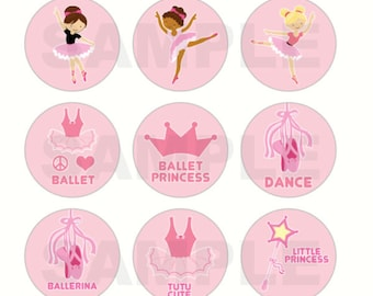 INSTANT DOWNLOAD - Ballet Princess Bottle Cap Images - 4x6 Digital Sheet - 1 Inch Circles for Bottlecaps, Hair Bow Centers, & More