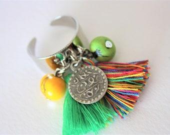 "Ethnic ring tassels ""Pachamama"" green & multicolor"