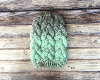 The Cayley // Braided Cable Beanie // Mint and Grey // Hand Knit Chunky Hat // Faux Fur Pom Pom // Chunky Knit Hat // Cable Beanie