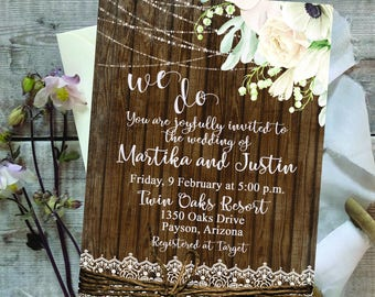 Digital Wedding Invitation - Rustic - Wood - Floral - Lights - Lace - Bow - Printable - Personalized