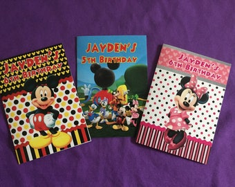 12 Personalized Mickey Mouse Clubhouse Coloring Books / with Crayons, Party Favors - Mickey Mouse, Minnie Mouse