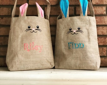 Easter Basket - Personalized Easter Bag - Egg Basket - Burlap Bunny Bag - Easter Basket