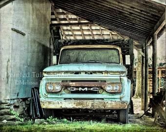 Old 1960's Vintage GMC Truck Still Life Rustic Garage Man Cave Art Nostalgic Rusty Truck, Americana Country Life Fine Art Photography Print