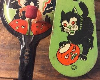 Vintage Halloween Tin Metal Wood Noisemaker 1930's Cats Jack O Lantern Clacker