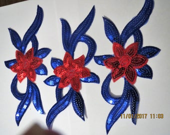 Blue and Pink sequined appliques, iron on appliques, cost is for all 3