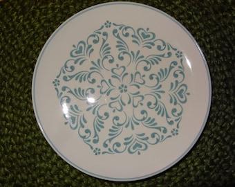 Set of 6 Interpace Blue Fancy Whitestone Ware Dinner/Sandwich Plates / Interpace