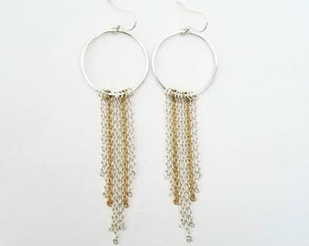 Brass Circle with Chain Fringe