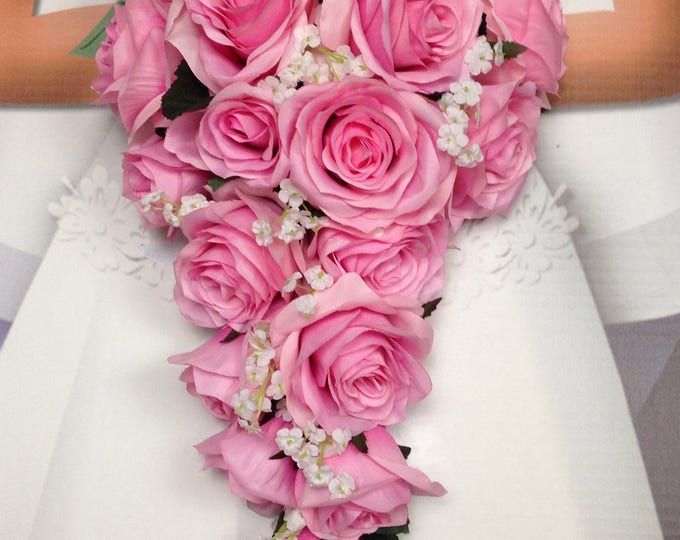 """New Artificial Pink Teardrop Wedding Bouquet, 15"""" in length. White Baby's Breath and Pink Bridal Bouquet"""