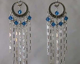 Handcrafted Swarovski Crystals and Sterling Silver Earrings - Natalia