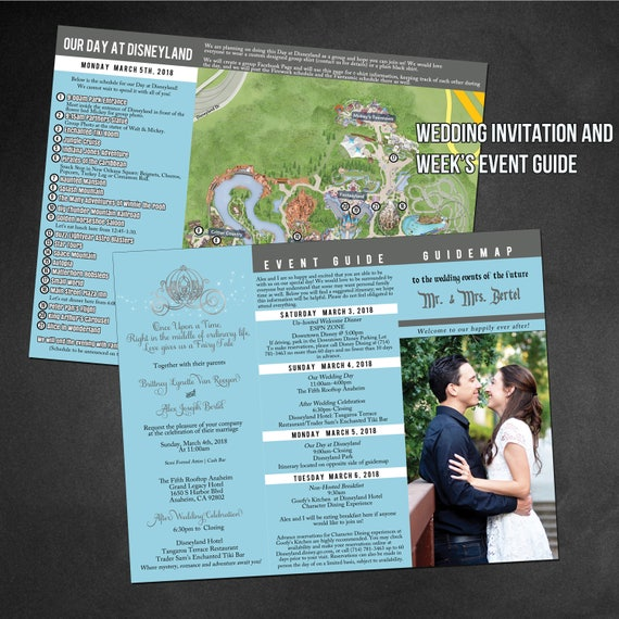Custom Disney Park GuideMaps Use As Wedding Programs Invitations Save The Date Or A Guide Map To Your Event