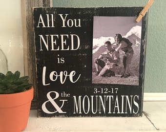 Vacation Photo Frame   All you Need is Love and the Mountains    Wedding Bridal Shower Gift   Family Vacation Picture Frame