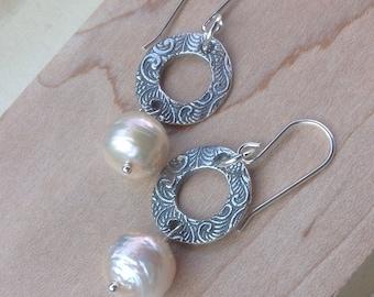 Peach Kasumi Pearl Earrings, Baroque Pearl Earrings, Sterling Silver, 10mm pearl earrings, pearl jewelry,  silver earrings, last one