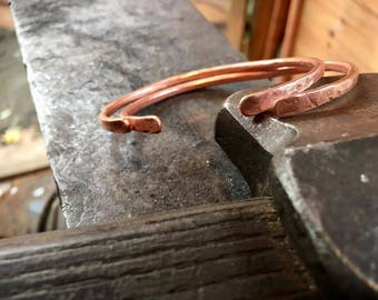Delicate hand forged copper bangle x 2