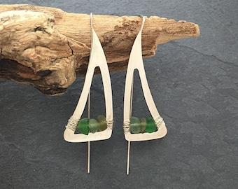 Sea Glass Green Triangle Earrings