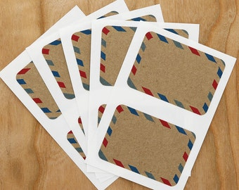 Airmail Kraft Labels Sticker Rectangle