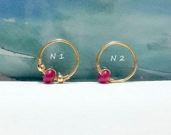 Ruby Cartilage Earring - Tiny Hoop Helix Ring - Septum-Tragus Ring - 16-22 Gauge-7-12mm Inner Diameter -July Birthstone-Small Cartilage Ring
