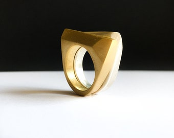 Gold-plated faceted ring