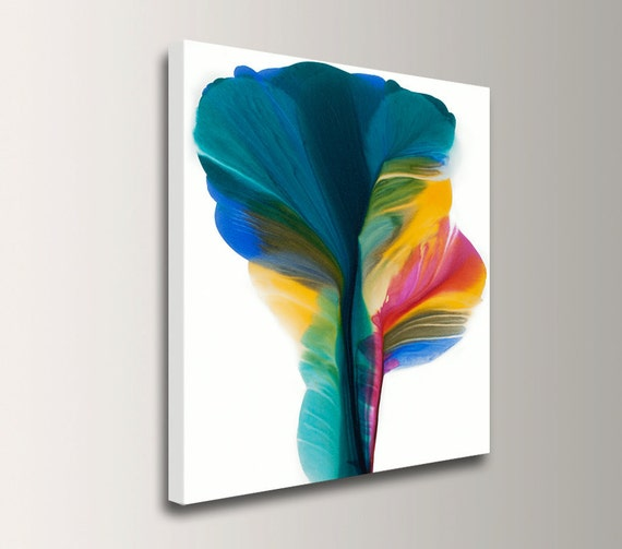 "Abstract Floral Art - Teal and Yellow - Giclee Canvas Print of Original Acrylic Painting - Modern Wall Decor ""Abstract Floral"""