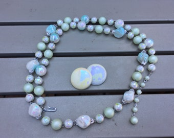 Japan Vintage Iridescent Light Blue, Light Green and White Beaded Necklace and Earrings Set 0706