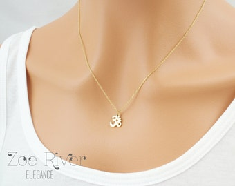 Tiny silver, gold or rose gold Om necklace Simple and elegant