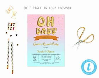Donut gender reveal etsy oh donut gender reveal tem try before you buy instant download edit yourself stopboris Choice Image