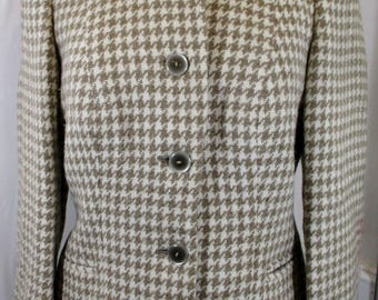 """1960s Vintage Womens Houndstooth Wool Blazer SMALL Size 8 (Bust 36"""") Smart Jacket tailored in Scotland -Quality Retro Fashion-"""