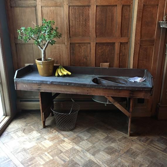 Antique Copper Sink, Large Farmhouse Sink With Drainboard, Copper Vanity, Primitive Farm House Decor, Copper Decor