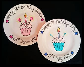 Personalised Hand-Painted 1st/First Birthday Plate Gift