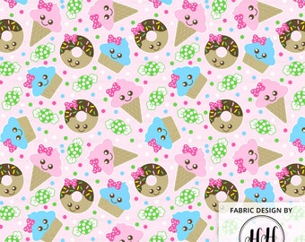 Cute Treats Fabric / Kawaii Dessert Fabric / Ice Cream Donut Cupcake / Cute Girl Fabric / Dessert Print Fabric by the Yard & Fat Quarter
