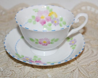 Tuscan Fine Bone China Teacup and Saucer in Pastel Blues & Pink Florals
