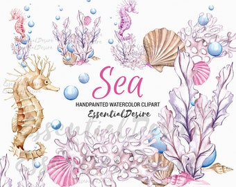 Ocean Watercolor Clipart Seahorse Pink Purple Sea Illustration Bubbles Shell Scallopshell DIY Pack, Underwater Seashell Summer Collage Sheet