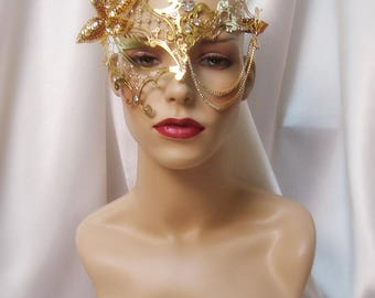 Gold and Rhinestone Laser Cut Metal Mask, Gold Metal Phantom Mask, Masquerade Mask, Mardi Gras Mask