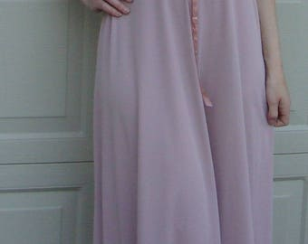 vicky vaughn MAUVE BOHO DRESS vintage maxi pink M (D8)
