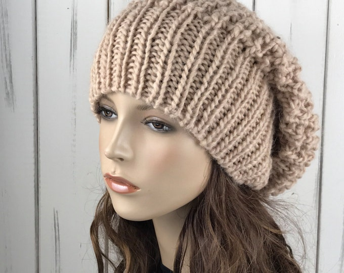 Hand knit woman hat - Oversized Chunky Wool Hat slouchy hat wheat hat
