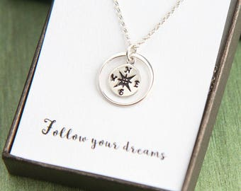 Sterling Silver Compass Necklace, Compass Graduation Necklace, Inspirational Necklace, Inspirational Gift, Graduation Gift, Class of 2018