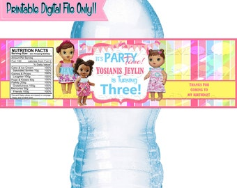 Baby Alive Birthday Water bottle labels - Baby alive Theme labels - Birthday Party - DIGITAL FILE ONLY!!!!