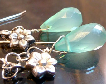 Dewdrops Aquamarine chalcedony briolettes with sterling silver flowers earrings OOAK jewelry