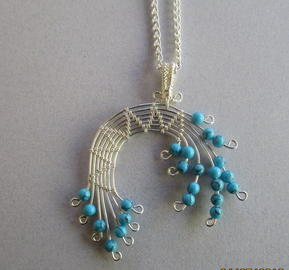 Howlite Woven Wire Spray Pendant Necklace N47181