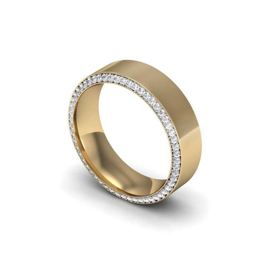 Men's Diamond Constellation Band, Men's Gold Wedding band, Solid Gold
